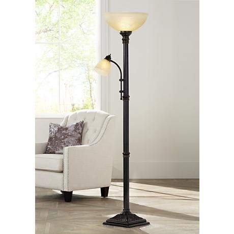 Garver Bronze Torchiere Floor Lamp with Reader Arm - Love this, this is perfect!