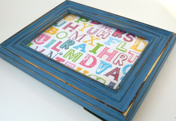 Distressed Blue Picture Frame Home Decor/ by FrameIT2015 on Etsy