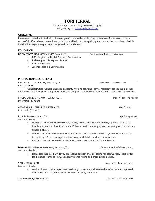 Tori Terral Dental Assistant Resume4 Oberen Dental Assistant Job