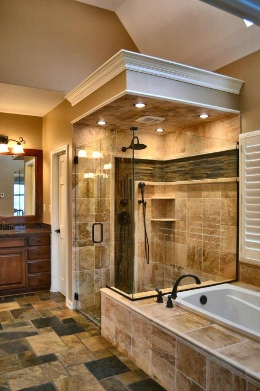 traditional master bathroom with tan porcelain tile shower wall covering - Master Bathrooms Designs