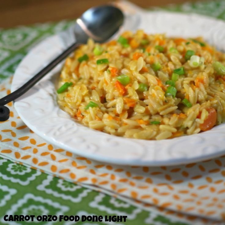 Fabulous side dish & great way to get more veggies in -Carrot Orzo Risotto Low Calorie, Low Fat Healthy Dinner Recipe