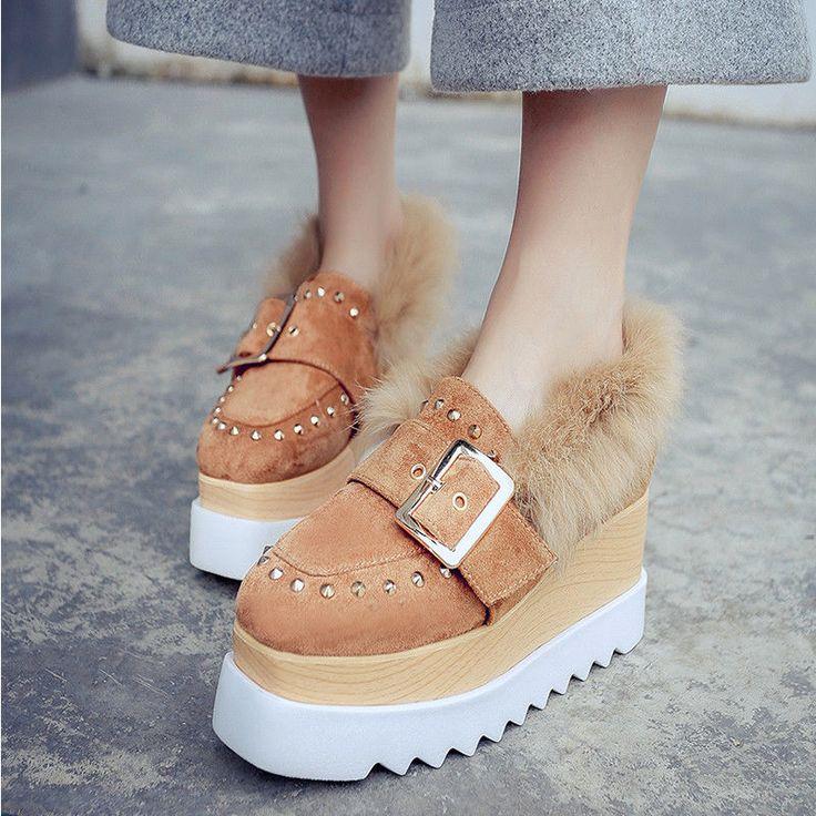 Women's Rivet Buckle Platform Ankle Boots Shoes Size 4.55678 Black/Brown Fashion