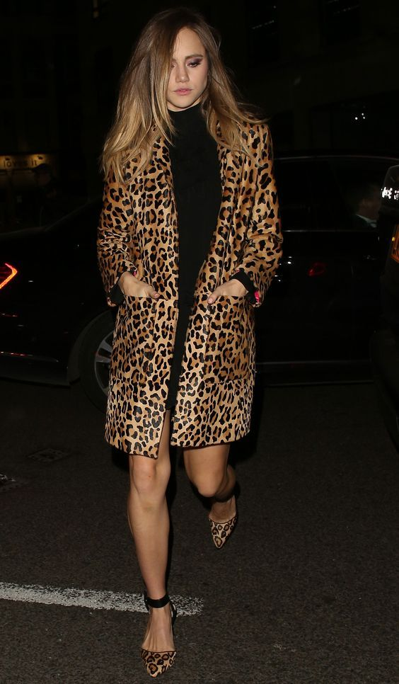 24 February 2016 Suki Waterhouse matched her leopard-print coat to her shoes for the Warner Music Group Brit Awards after party in London. - HarpersBAZAAR.co.uk