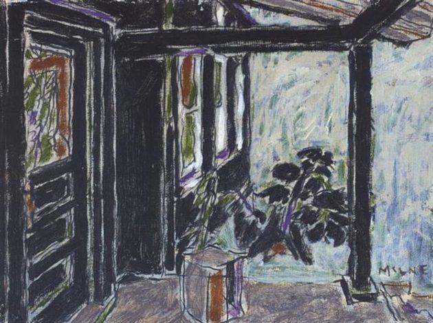 Black porch, Big Moose Lake, Adirondacks, NY - David Brown Milne 1926 Canadian 1882–1953 Oil on Canvas 12 x 16 in. (30.5 x 40.6 cm.)