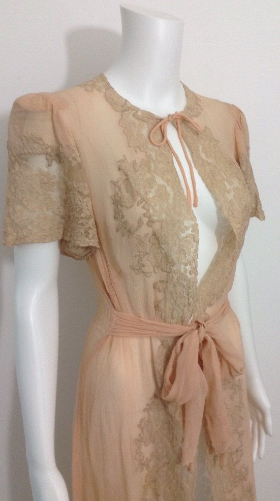 Gorgeous 1930's Silk Chiffon dressing Gown by MayCottagePrints