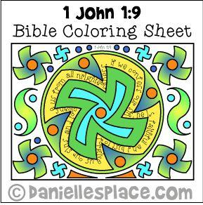 Bible Coloring Sheet 1 John 9