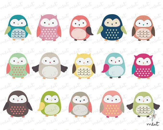 Cute Owl Clip art - 15 Digital Clipart Set for Scrapbooking - BUY 1 GET 1 FREE