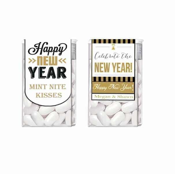 New Year's Eve Tic Tac Wedding Party Black and Gold Label Favor by detaillicious on Etsy https://www.etsy.com/listing/216348722/new-years-eve-tic-tac-wedding-party