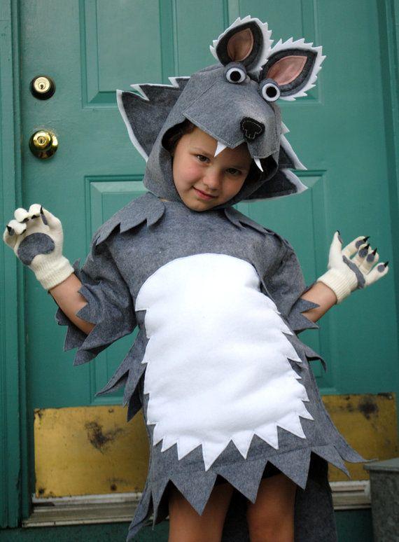 Disfraz de lobo en fieltro - Elaborate Grey Wolf Costume Newest Design for by AlphabetCircus.  Sé puede hacer este disfraz ratón con una bolsa gris o plate de basura y una blanca para la tripa. http://www.multipapel.com/subfamilia-bolsas-basura-colores-para-disfraces.htm