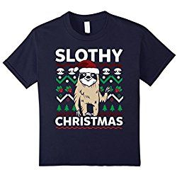 Kids Slothy Christmas Life is Better with a Sloth T-shirt Cute 8 Navy