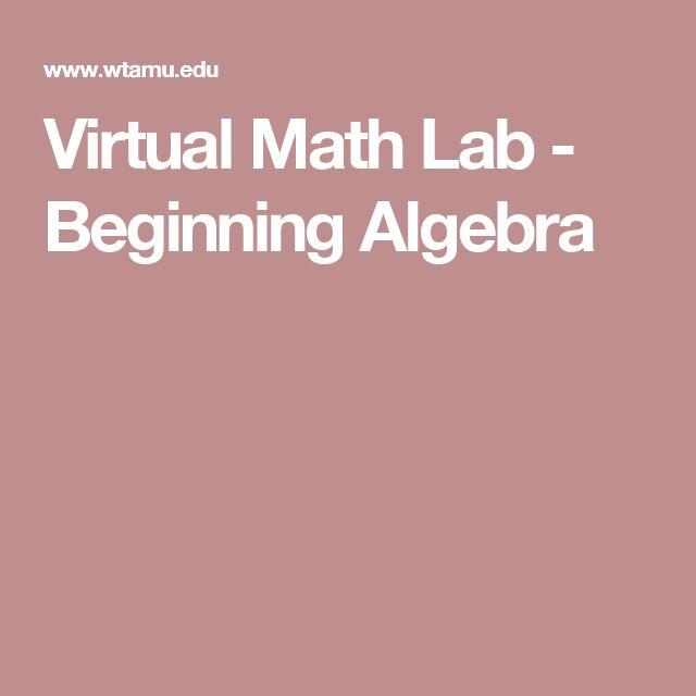 Virtual Math Lab - Beginning Algebra                                                                                                                                                                                 More