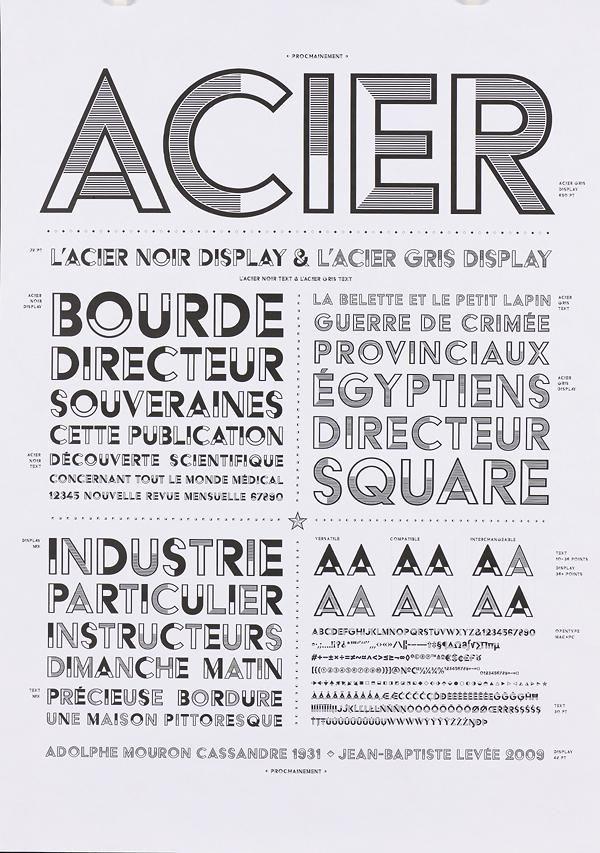 """Autres exemples de la police de caractères """"Acier"""" créée par CASSANDRE en 1935."""