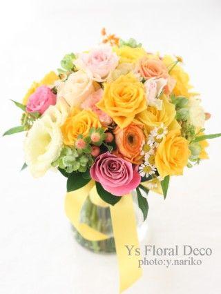 黄色メインのミックスカラーブーケ 花冠と共に ys floral deco