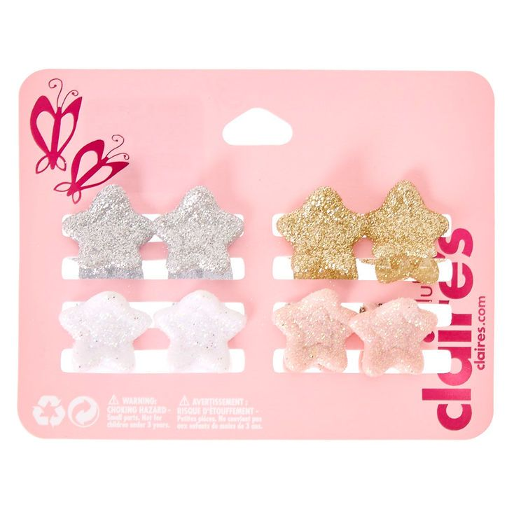 Kids 8 Pack Glitter Star Claw Hair Clips