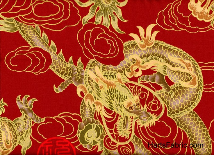 Chinese Dragons on Red with GoldChine Dragons, Chine Tablescapes, Asian Fabrics, Red Backgrounds, Large Chine, Chine Style, Gold Accent, Dragons Fabrics, Chinese Dragons