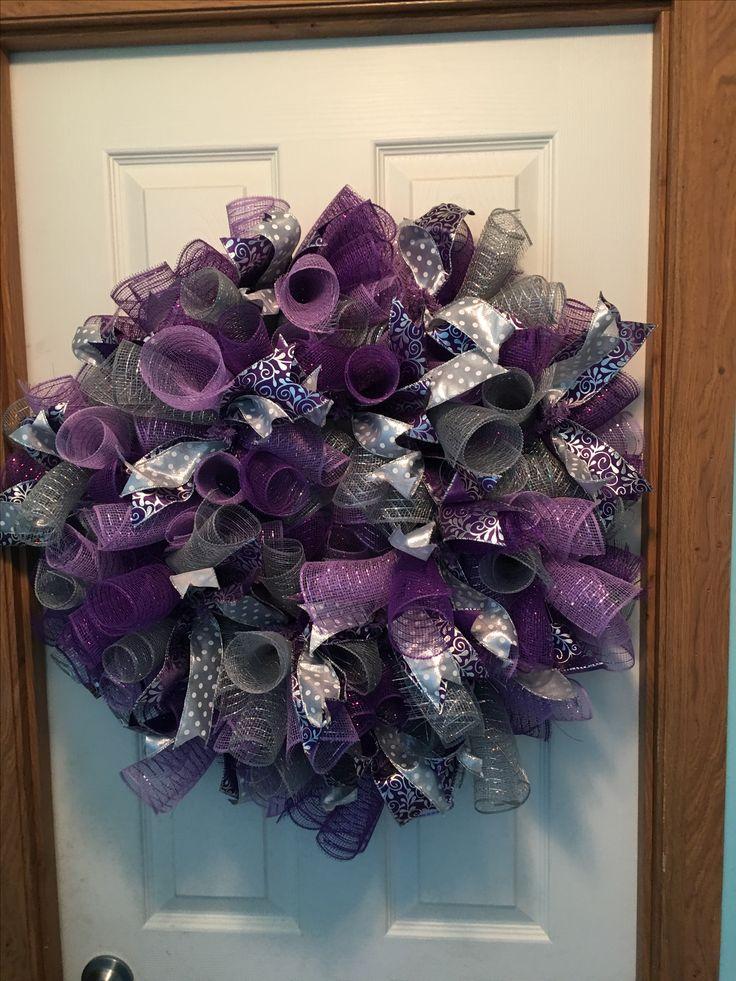 Purpl/gray/silver deco mesh wreath