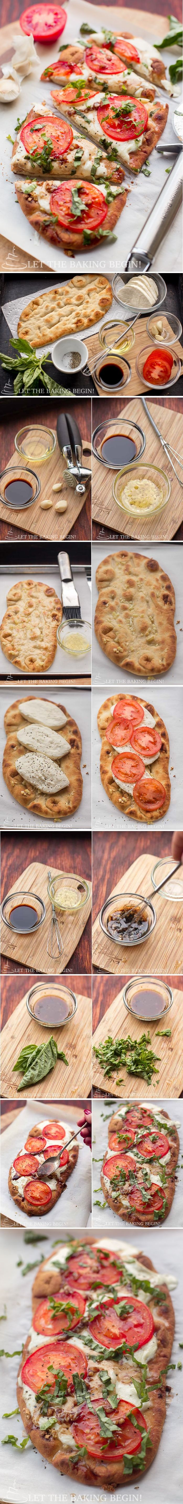 15 Minute Easy Margherita Flatbread Pizza