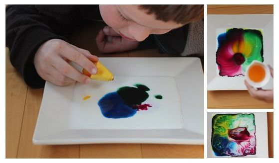 Для эксперимента вам потребуется: - глубокая тарелка - молоко - пищевые красители - средство для мытья посуды  Приступаем: 1. Налейте молоко в тарелку. 2. По очереди добавьте пищевых красителей разных цветов. 3. В центр капните немного средства для мытья посуды. 4. Смотрите, как молоко взаимодействует с красителями и средством для мытья посуды, создавая причудливые узоры.  Отличная задумка для развития творческого мышления!