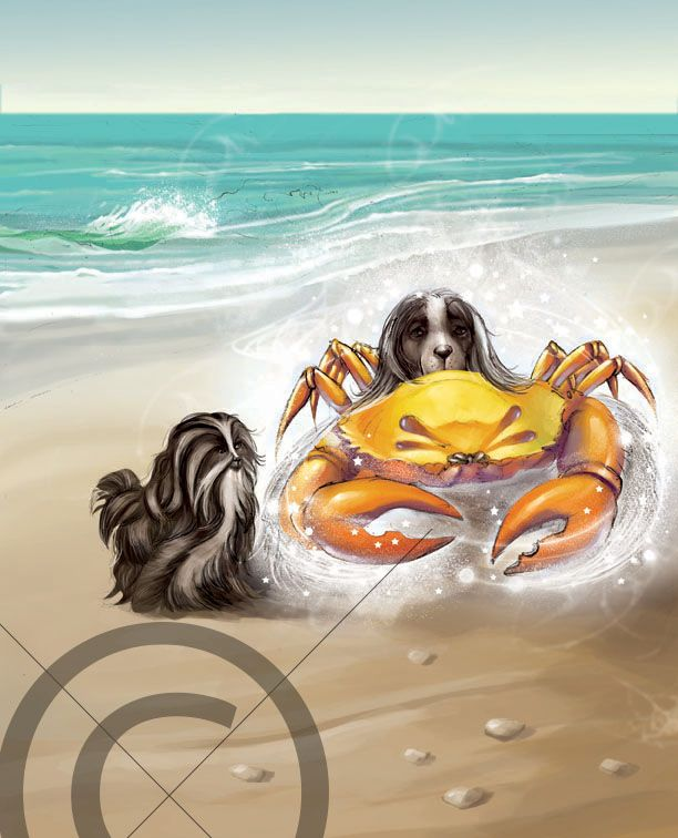 Two dogs on an adventure trip encounter a crab along the sea shore. The ‪#‎illustration‬ is done in digital medium using a special coloring technique which given an impression of water color. This is a special coloring technique. The background has sea and and the shore on one side. The waves have also been created using a combination of white and light blue color. The expression of dogs is uniquely illustrated.