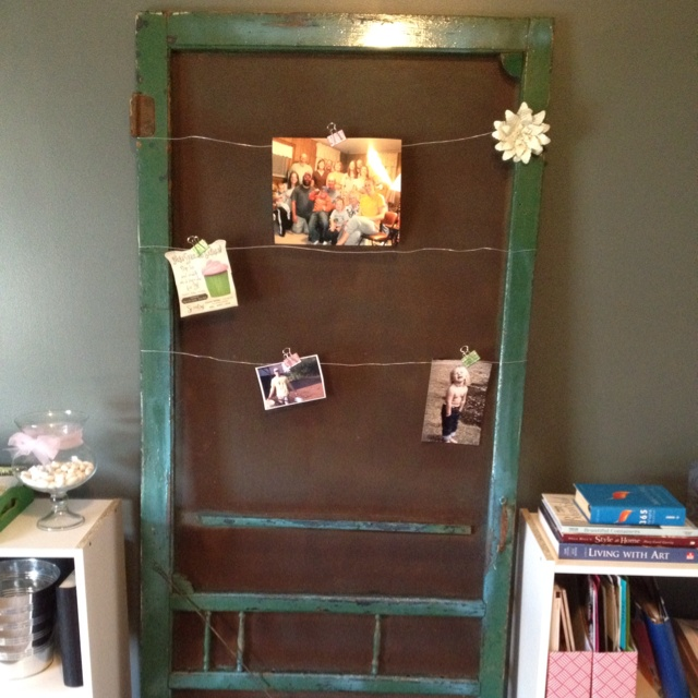 Old screen door with original paint im using it to hang pics reminders invites etc its in - Screens for doors that hang ...