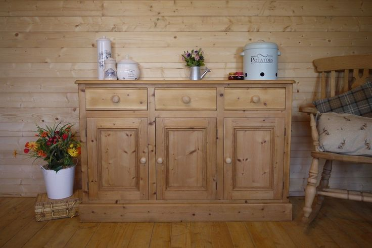 Farmhouse rustic solid waxed pine sideboard dresser cupboard cabinet chest unit | eBay