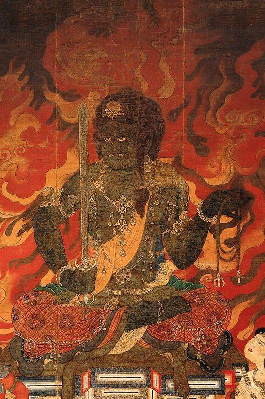 "Acala[Skr.:Ācala, Achala अचल;Ja:Fudō-myōō(不動明王)literally ""immovable"" one.)] is one of the fierce, angry-faced guardian deitiesofVajrayanaBuddhismand is particularly revered by Buddhists in Japan.He is classed among thevīdyārāja[Ja:myōō(""wisdom king"")]."