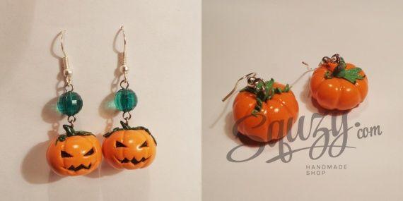 Украшения к Хеллоуину: Cерьги-тыковки