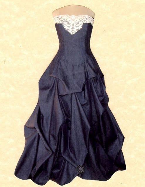Denim Wedding Dress with lace detail| Country/western wedding ideas