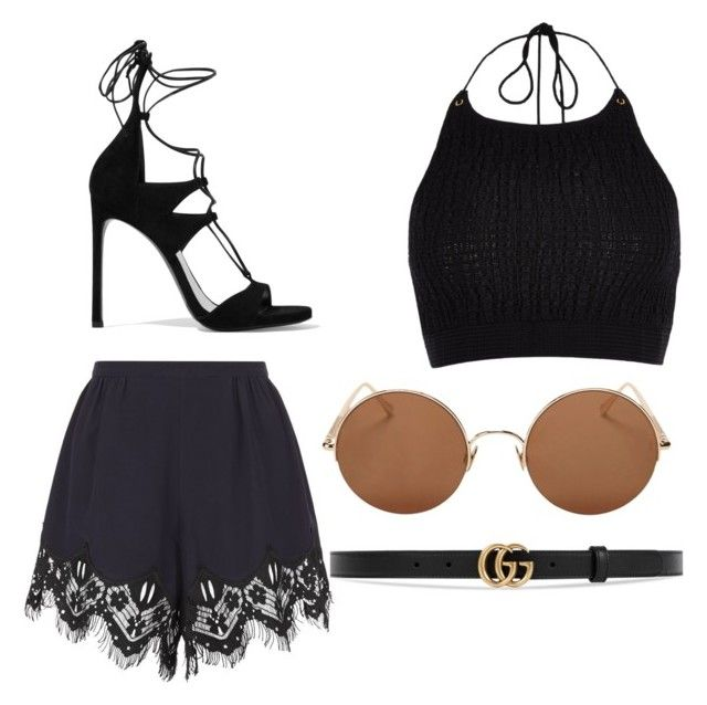"""""""black"""" by cosmina-styles-alina on Polyvore featuring Chloé, River Island, Sunday Somewhere, Gucci and Stuart Weitzman"""