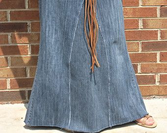 Long Jean Skirt - Extra Pocket - Women - Made To Order  This long jean skirt with the extra pocket is a Custom Order made from upcycled jeans!  When ordering your jean skirt, please include these measurements: ***SEE DIAGRAM IN PICTURES*** 1) Waist - about 2 below the natural waistline 2) Hips - widest part 3) Distance between those two measurements 4) Length  *Please note that you will not receive this exact jean skirt but one made similar. Color, wash and style of jeans will differ…