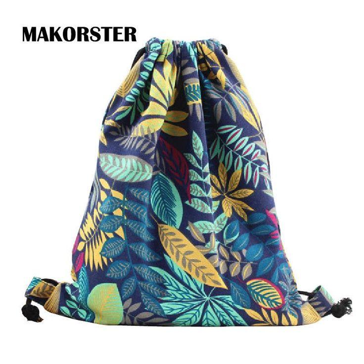 [Visit to Buy] MAKORSTER 2017 women backpacks printing backpack mochila rucksack fashion canvas bags retro casual school bag travel bags MK001 #Advertisement