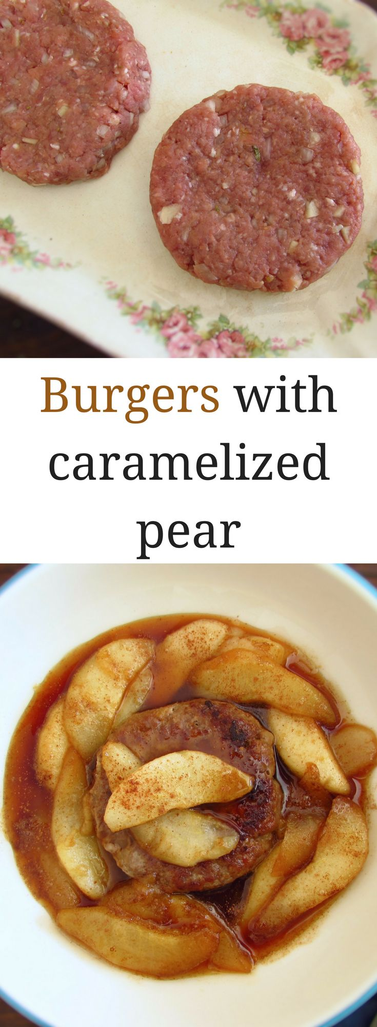 Burgers with caramelized pear | Food From Portugal. Want to prepare a special dinner for your friends? Serve these tasty burgers with caramelized pear! They will love this delicious blend of flavours. Bon appetit!!! #burgers #recipe #pear