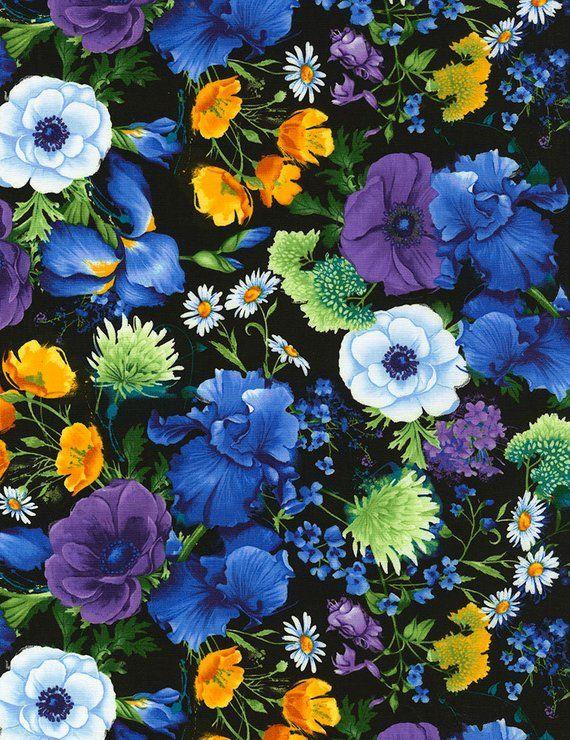 0 50 M Flowers Flowers Non Forgissed Iris Poppy Cotton Fabric Patchwork Fabric Fabric Cotton Blume Hintergrund Blumen Und Hintergrundbilder