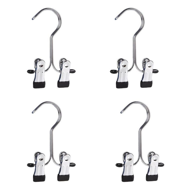Set of 4 Boot Hangers Clips, Laundry Hooks, Home Travel Portable