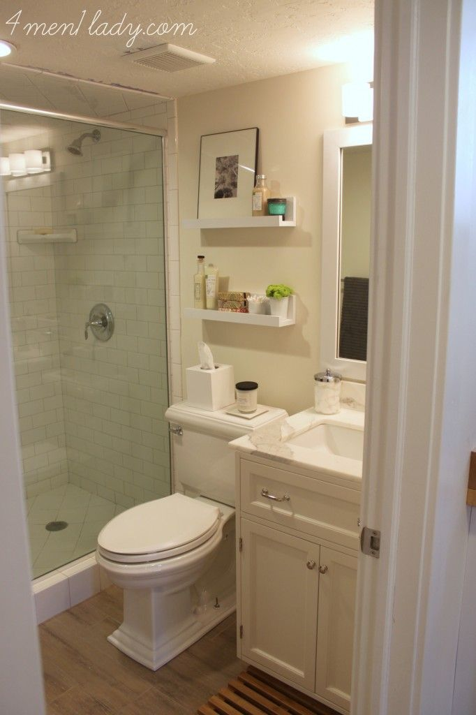 small bathroom with nice finishes diy shelves are a nice touch - Basement Bathroom Design