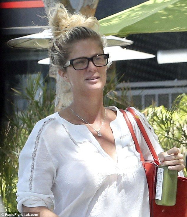 Barefaced babe: The former wife of Rod Stewart went make-up free