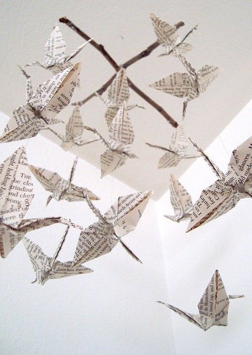 Words of Peace  Paper Crane Mobile by frillsandbils on Etsy, $25.00