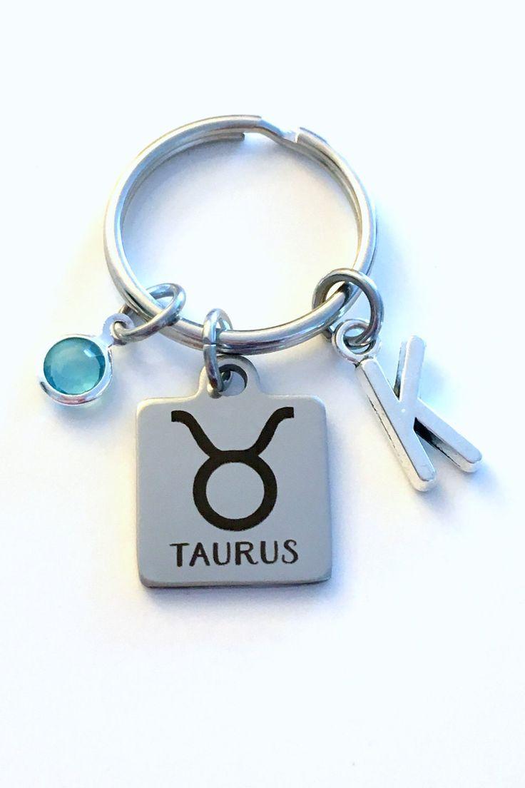 Taurus KeyChain, Zodiac Sign Key Chain, Gift for Birthday Present Keyring Birthstone Initial Personalized Custom Letter May April Key Ring by aJoyfulSurprise on Etsy