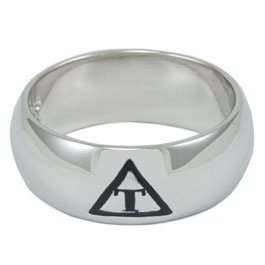 Triangle Fraternity Sterling Silver Wide Band Ring