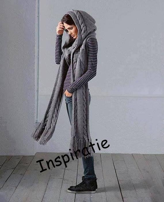 Fular tricotat cu gluga