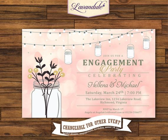 Bokeh Lights Hanging Mason Jar  Engagement Party by Lavandule