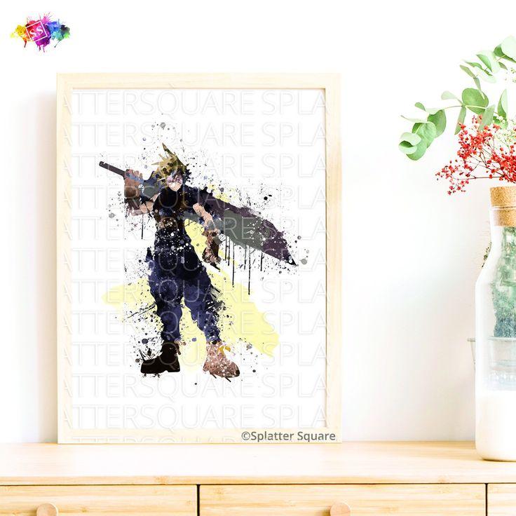Cloud Strife, Print, Final Fantasy VII, Video game, Art work, gift for boyfriend birthday, Gift for gamers, Boy room decor, Soldier _18 by SplatterSqu…