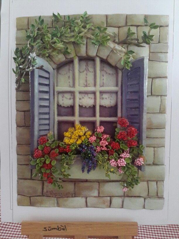 Kağıt rölyef ile pencere çalışmalarımdan-SÜMBÜL ELDEK