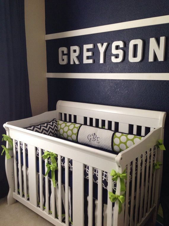 Navy and Lime Baby bedding Crib set DEPOSIT by abusymother on Etsy