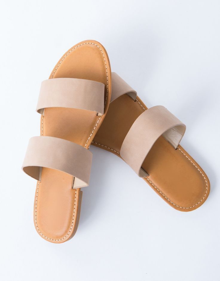 Double Banded Sandals. Leather MaterialLeather SandalsBrown SandalsWhite ...