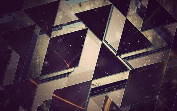 05.三角形と四角形を組み合わせた幾何学模様のイラスト壁紙画像