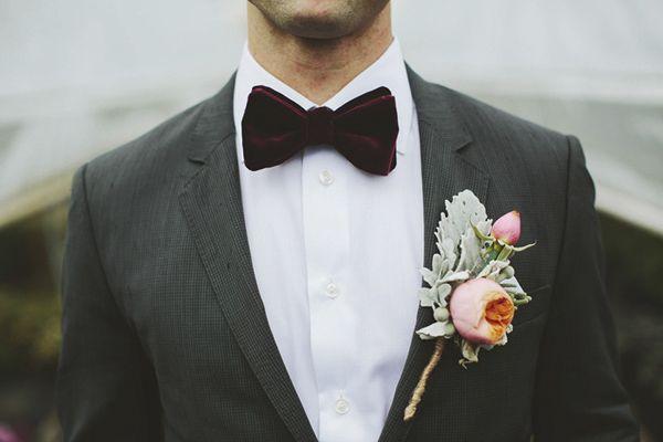 Velvet bow tie by Dion - perfect! Photo by Rowan Jane Photography | via junebugweddings.com