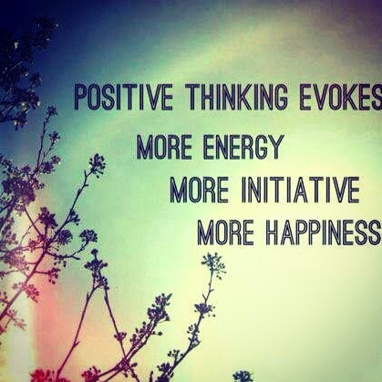 Positive thoughts = positive results. Be the change you want to see in this world. It starts with being positive.
