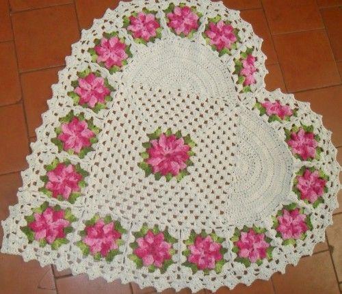 Tapete de Croche em Barbante 2 500x430 Tapete de Croche em Barbante Com Grafico Flores Redondo Oval