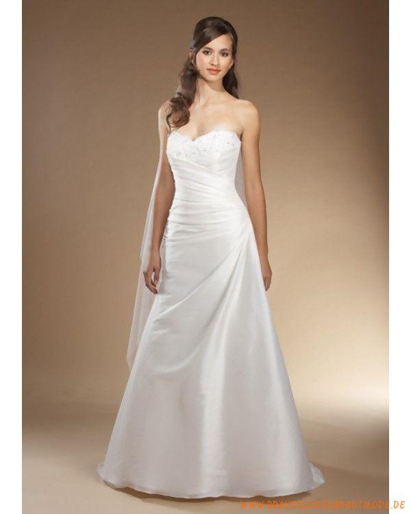 Günstiges Brautkleid aus Taft Herzförmiger Ausschnitt und verziertes Mieder A-Linie Rock
